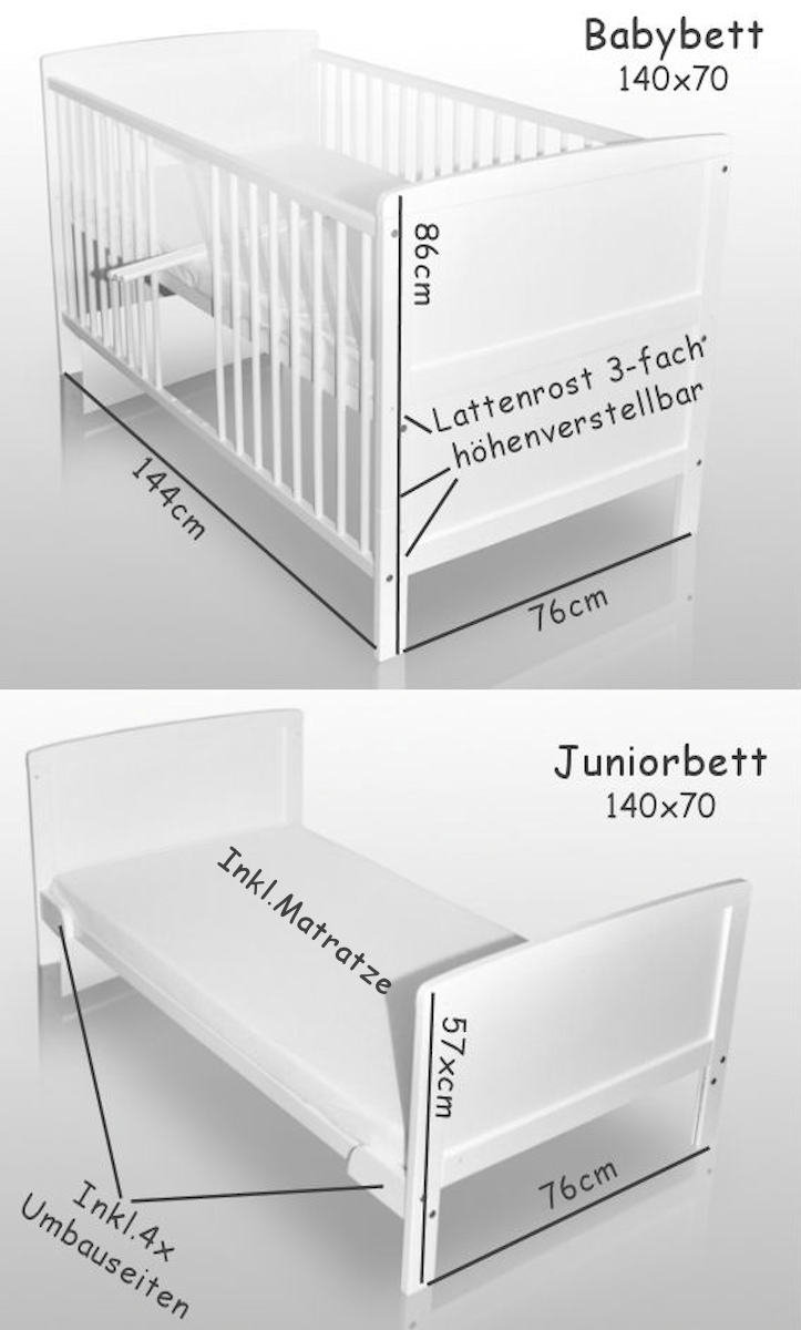 babybett wei kinderbett juniorbett 140x70 bettw sche bettset neu herzchen ebay. Black Bedroom Furniture Sets. Home Design Ideas