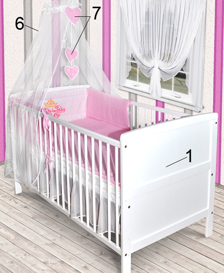 babybett wei kinderbett juniorbett 140x70 bettw sche prinz princessin neu ebay. Black Bedroom Furniture Sets. Home Design Ideas