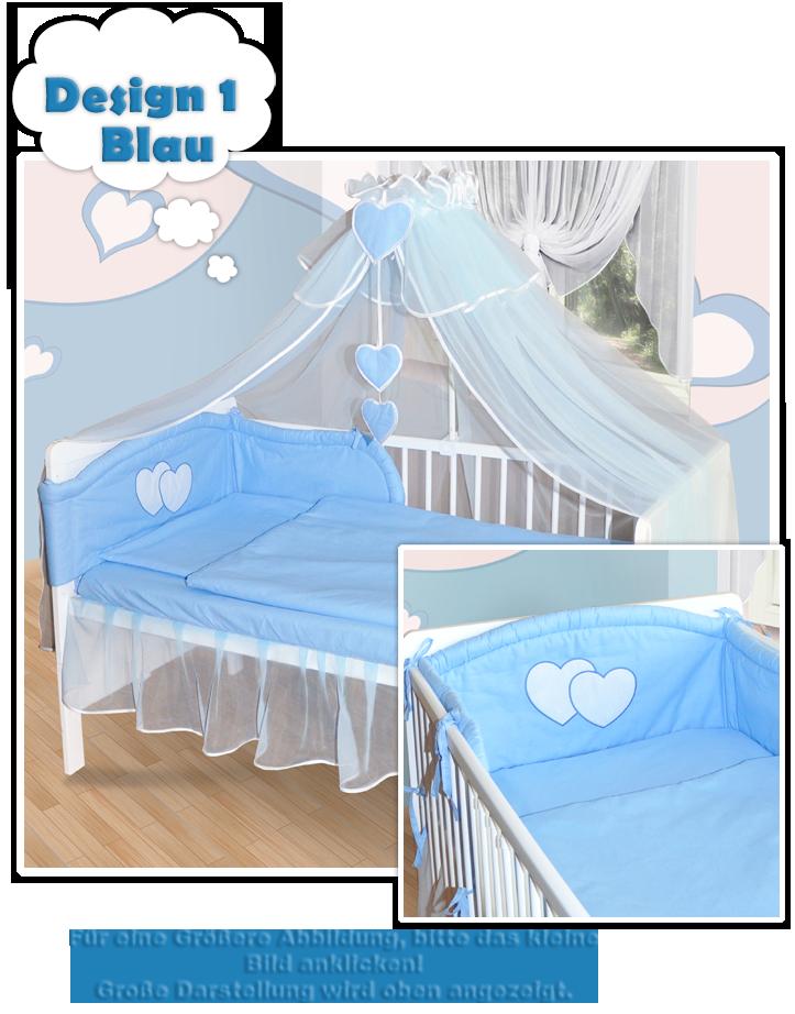 baby bettw sche moskitonetz himmel 2in1 bettset mit applikation 100x135cm neu ebay. Black Bedroom Furniture Sets. Home Design Ideas