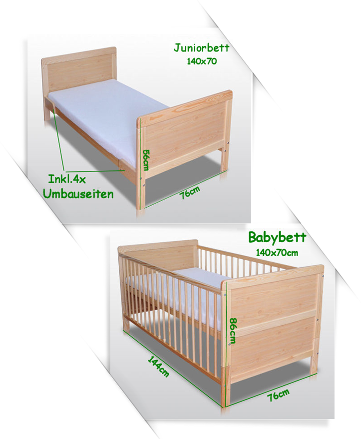 babybett kinderbett gitterbett umbaubar 140x70 matratze neu juniorbett ebay. Black Bedroom Furniture Sets. Home Design Ideas
