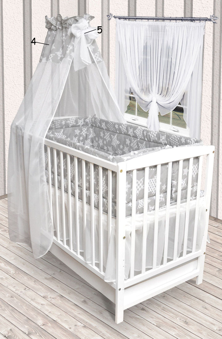 5tlg bettw sche set mit rundum nestchen 420cm himmel neu f r babybett 140x70 ebay. Black Bedroom Furniture Sets. Home Design Ideas