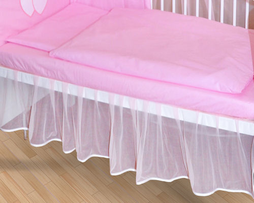 falbel aus chiffon f r babybett 140x70 blau wei rosa gr n creme neu ebay. Black Bedroom Furniture Sets. Home Design Ideas