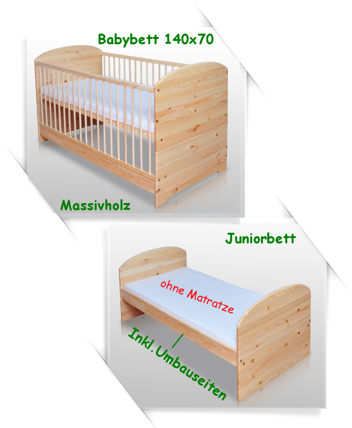 babybett kinderbett juniorbett 140x70 massiv lackiert neu umbaubar 2 in 1 ebay. Black Bedroom Furniture Sets. Home Design Ideas