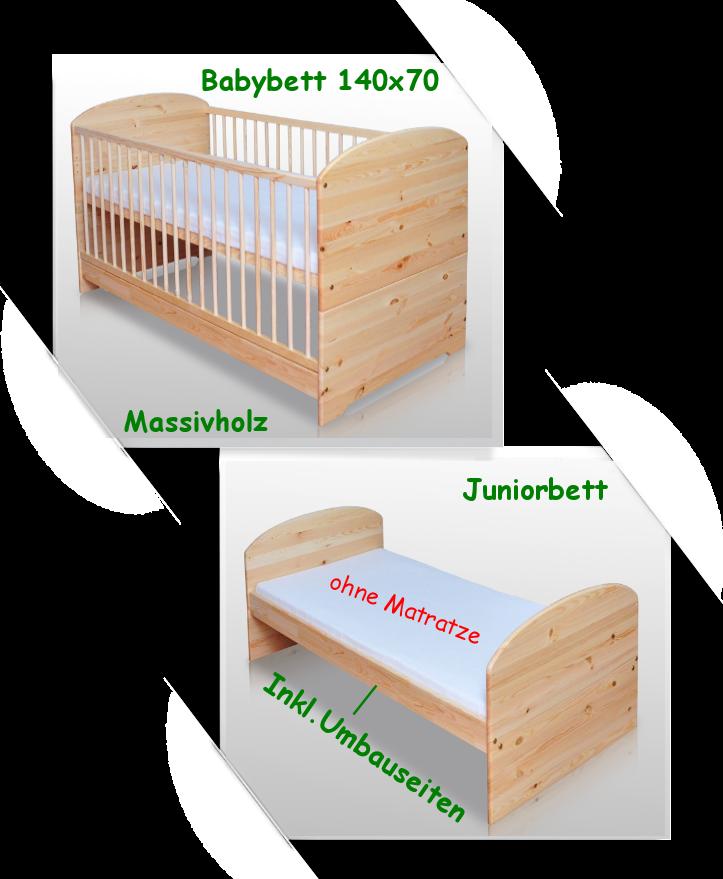 babybett kinderbett juniorbett 140x70 massiv lackiert neu. Black Bedroom Furniture Sets. Home Design Ideas