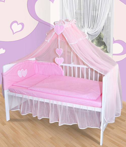 baby himmel moskitonetz f r babybett chiffonhimmel mit herzchen neu 6 farben ebay. Black Bedroom Furniture Sets. Home Design Ideas