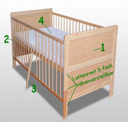 babybett kinderbett gitterbett umbaubar 140 x 70. Black Bedroom Furniture Sets. Home Design Ideas