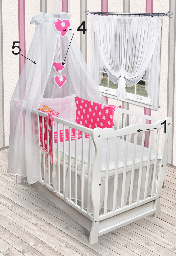 babybett kinderbett wei bettw sche bettset schublade matratze stickerei neu ebay. Black Bedroom Furniture Sets. Home Design Ideas