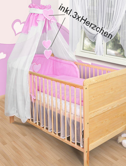 himmel vollstoff chiffon baby bett chiffonhimmel vollstoffhimmel herzchen neu ebay. Black Bedroom Furniture Sets. Home Design Ideas