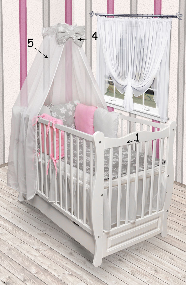 babybett juniorbett kinderbett wei bettset schublade matratze himmel neu kissen. Black Bedroom Furniture Sets. Home Design Ideas