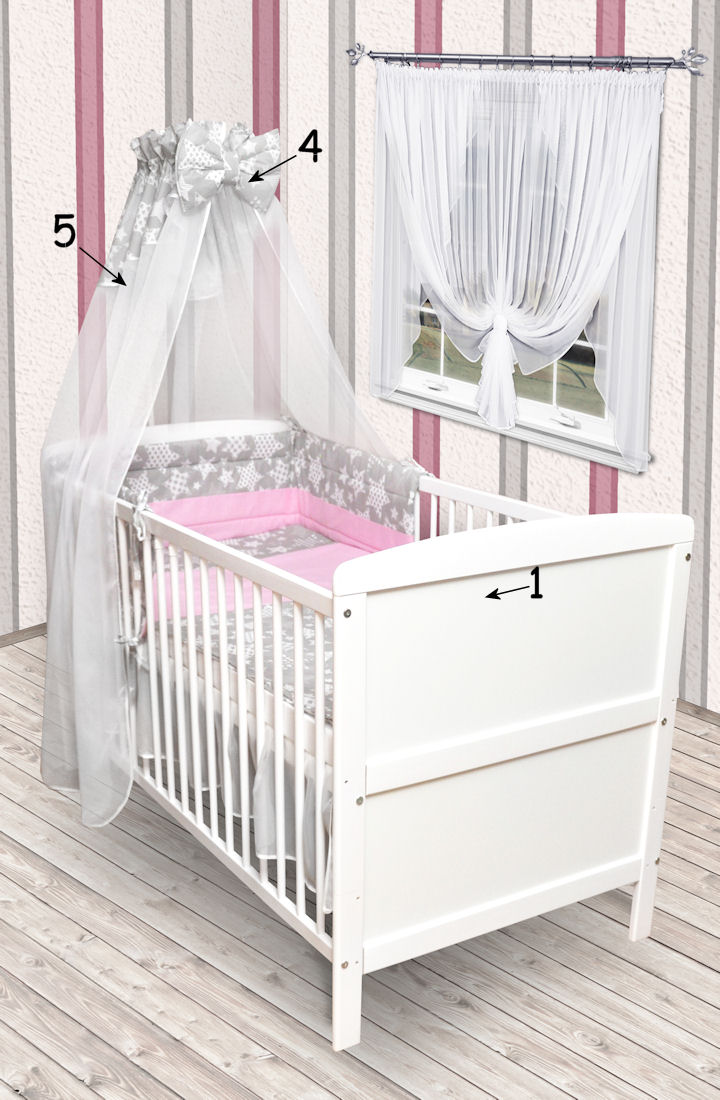babybett kinderbett juniorbett wei 140x70 bettw sche bettset komplett neu grau ebay. Black Bedroom Furniture Sets. Home Design Ideas