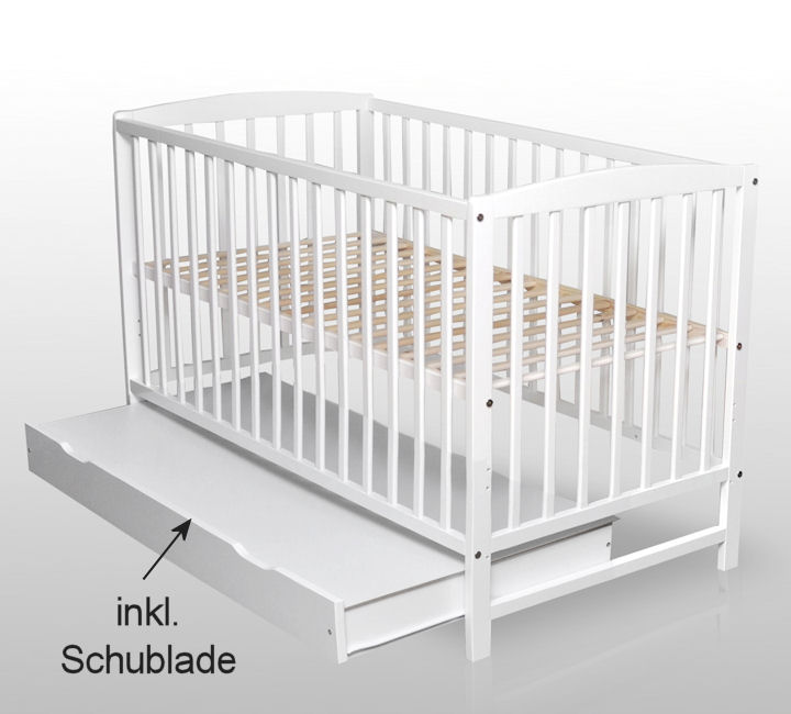 babybett kinderbett wei vollmassiv neu 120x60 cm mit schublade ebay. Black Bedroom Furniture Sets. Home Design Ideas