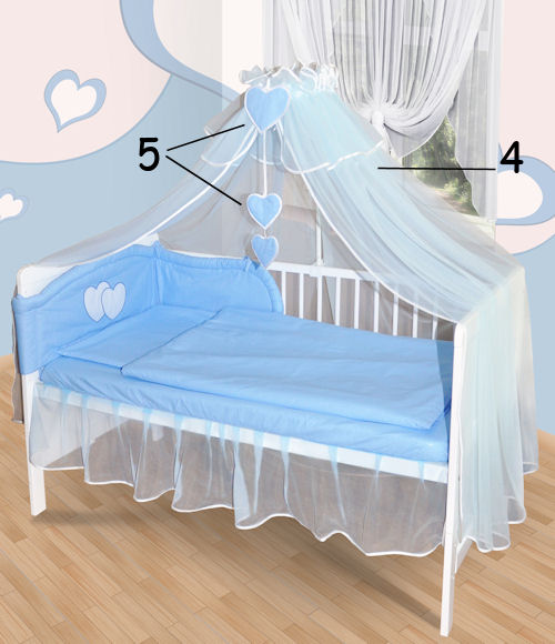 baby bettw sche moskitonetz himmel 2in1 bettset mit applikation 100x135cm neu ebay. Black Bedroom Furniture Sets. Home Design Ideas