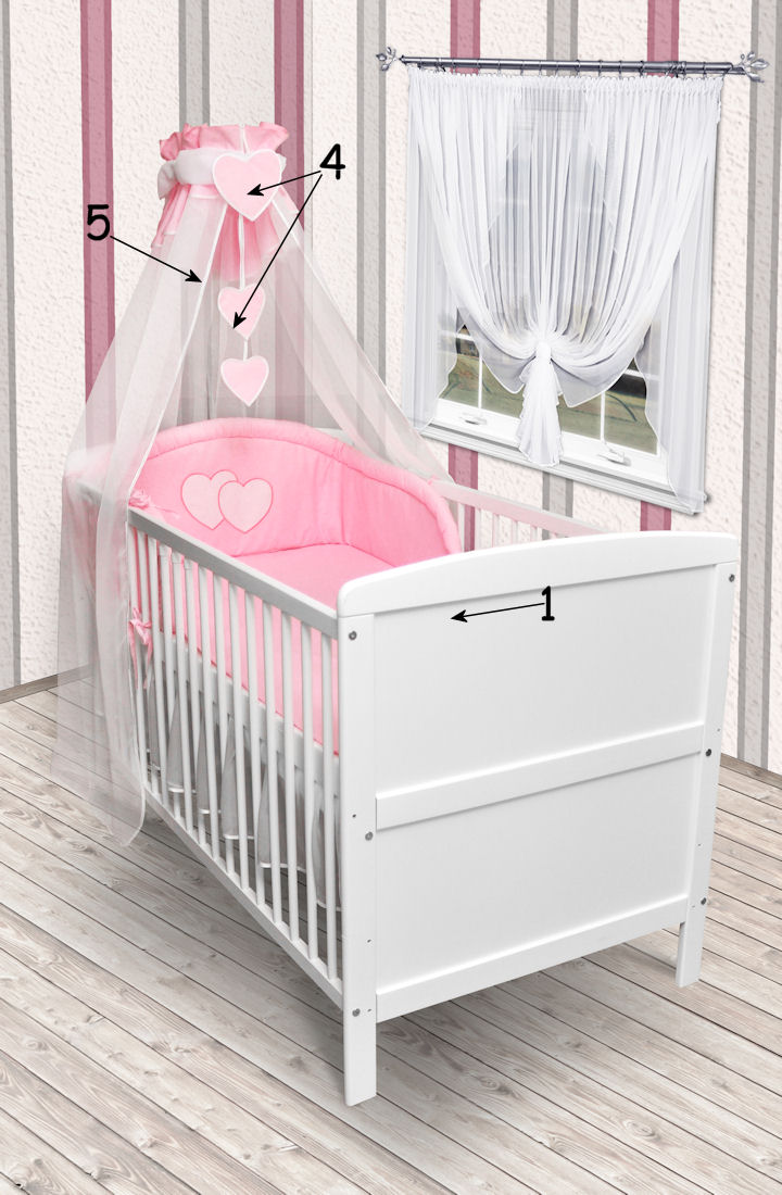 babybett kinderbett juniorbett wei 140x70 bettw sche bettset herz neu matratze ebay. Black Bedroom Furniture Sets. Home Design Ideas