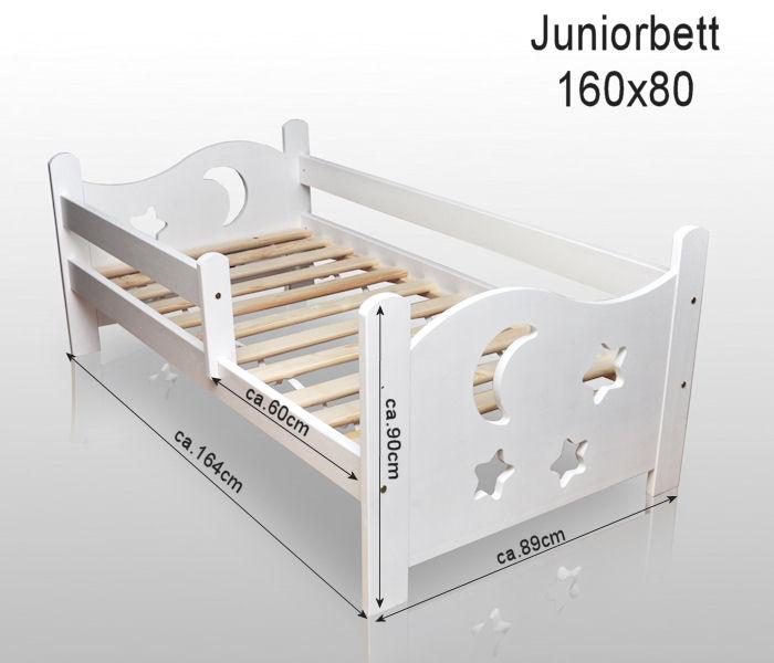kinderbett juniorbett massivholz farbe wei sterne mond 160x80cm mit matratze ebay. Black Bedroom Furniture Sets. Home Design Ideas