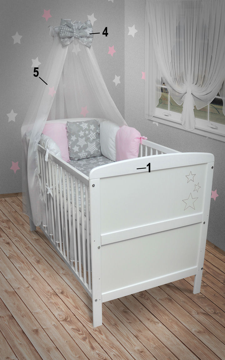 babybett kinderbett sterne juniorbett wei 140x70 kissen. Black Bedroom Furniture Sets. Home Design Ideas