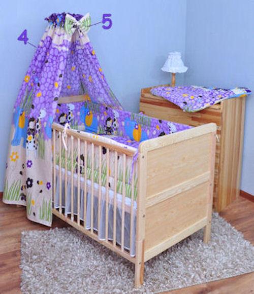 5tlg bettw sche set mit rundum nestchen 420cm himmel neu f r babybett 140x70 ebay. Black Bedroom Furniture Sets. Home Design Ideas