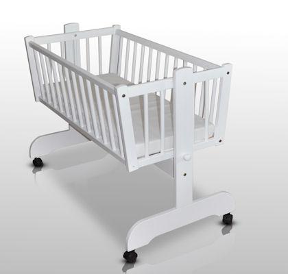 babywiege schaukelwiege babybett weiss mit matratze neu ebay. Black Bedroom Furniture Sets. Home Design Ideas
