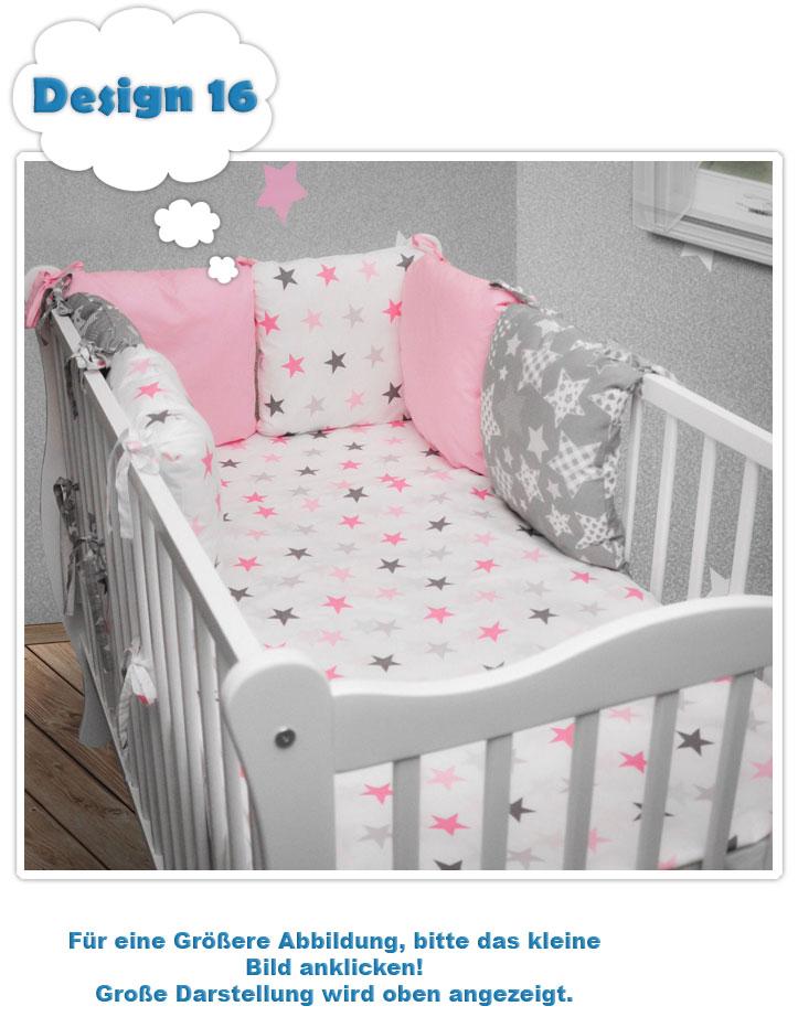 Bettset Nestchen Deckenbezug für Babybett 140x70 NEU 3tlg Kissenbezug