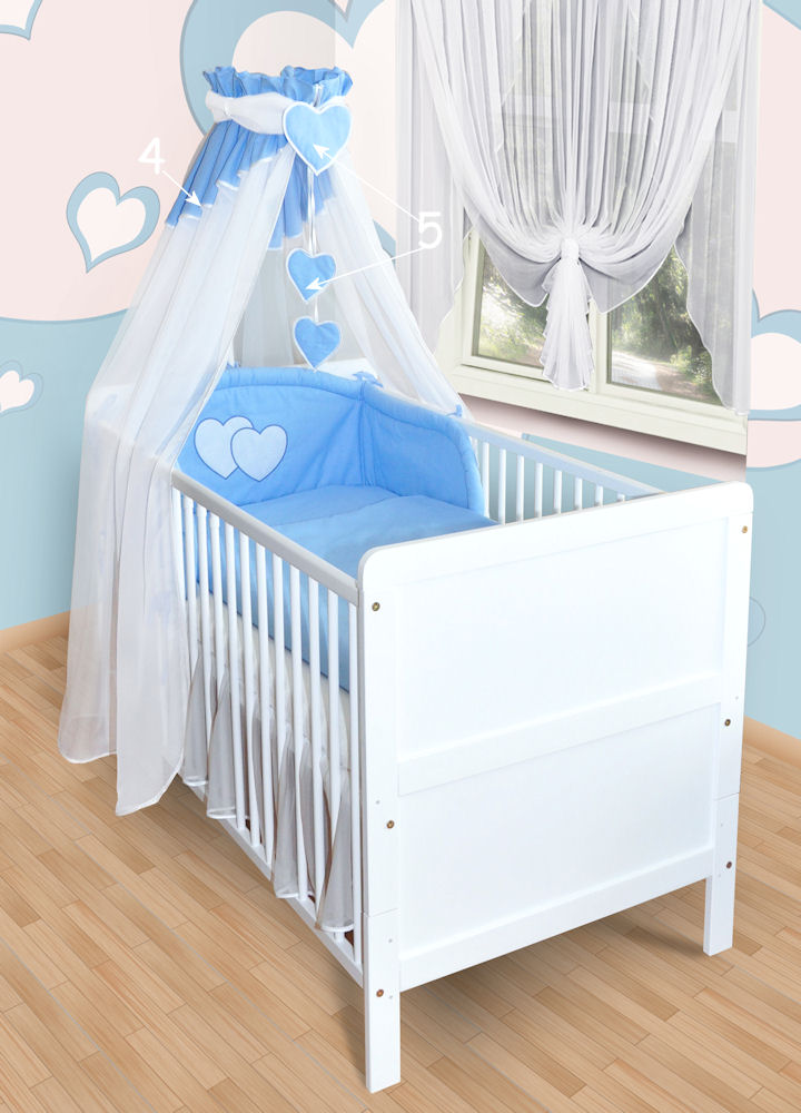 6tlg 19tlg baby bettw sche bettset mit applikation 100x135 neu herzchen himmel ebay. Black Bedroom Furniture Sets. Home Design Ideas