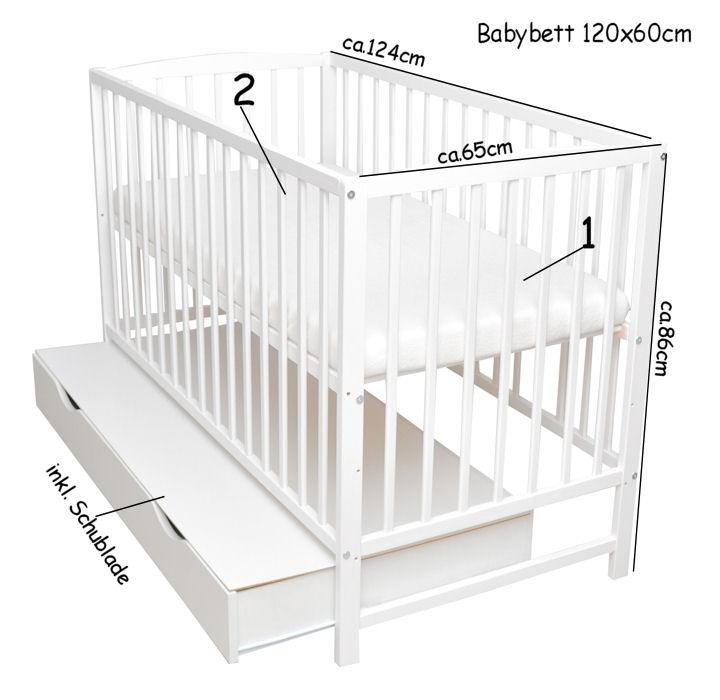 Babybett Schutzgitter 2in1 Gitterbett Kinderbett 120x60 Wei/ß Matratze Juniorbett Schublade Neu