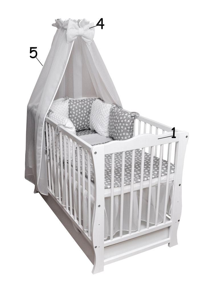babybett kinderbett wei bettset minky komplett matratze schublade 120x60 neu ebay. Black Bedroom Furniture Sets. Home Design Ideas